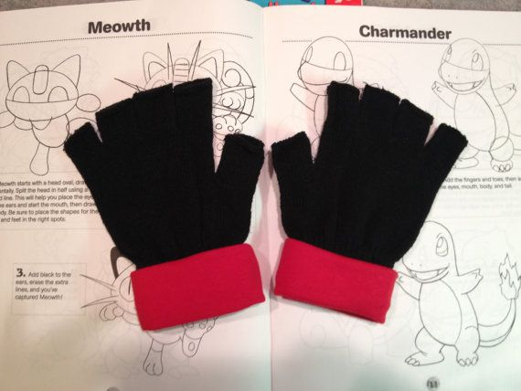 Pokemon Trainer Red Gloves -Costume - Cosplay Gloves -1058