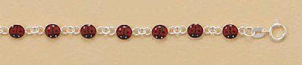 Enameled Lady Bug/Ladybug Sterling Silver Bracelet, 5-1/2 inch long, Child-Size Silver Messages. $34.99