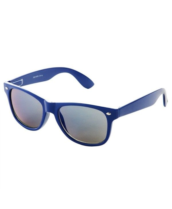 d58fcdd19fa Reflective Revo Color Lens Large Horn Rimmed Style Sunglasses - Navy ...