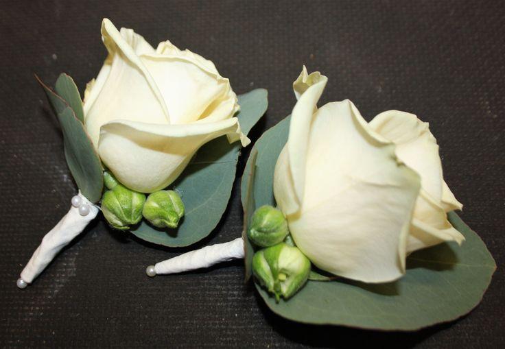 Coursage med vit avalancehros,  ett par små knoppar av ranukel och poppel fiori