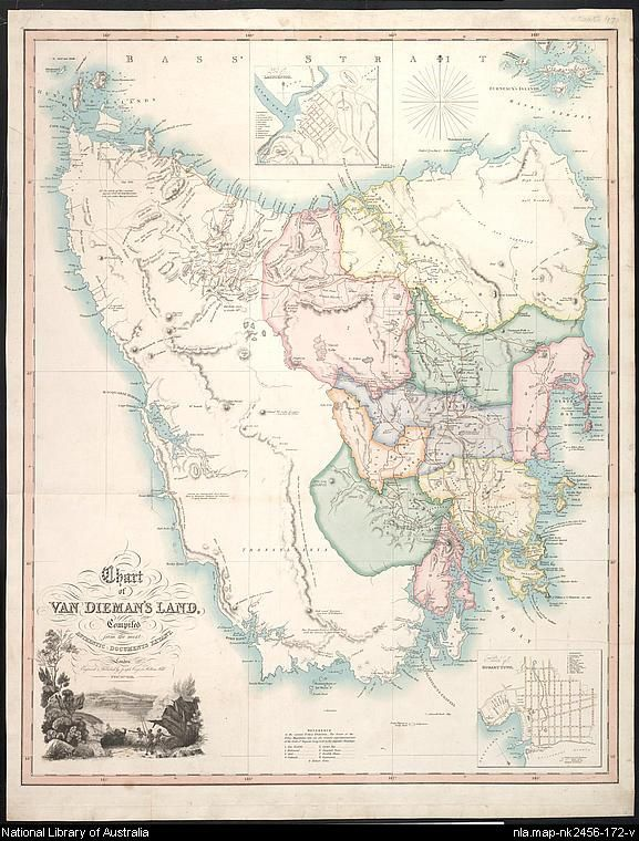 The National library of Australia has a vast range of maps (over 600,000). They range from early European to more current mapping of Australia.  This map is of Van Dieman's Land.