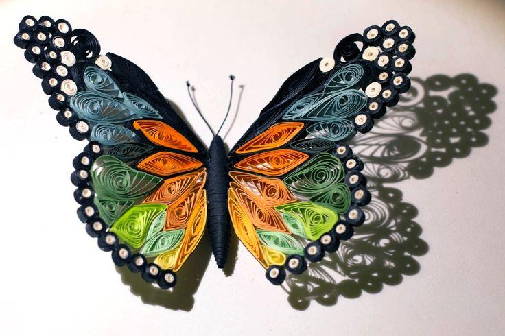 Quilled butterfly - Papillon quilling - Mariposa de Papel