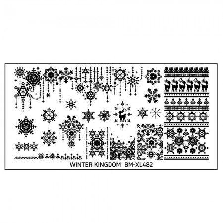 Winter Kingdom Nail Art Polish Stamping Plate - Snowflakes Galore
