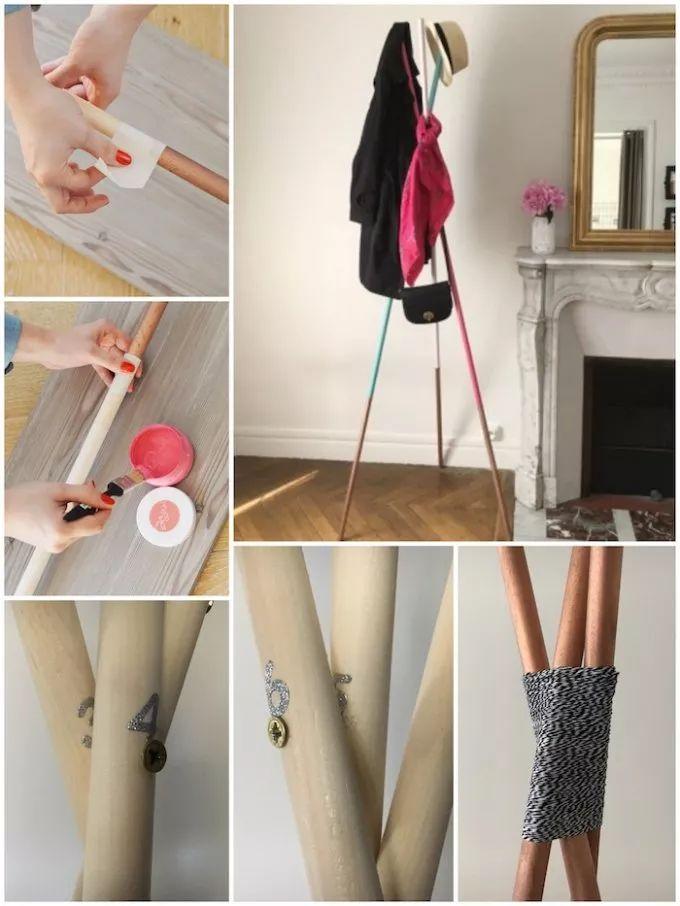 comment fabriquer un DIY portemanteau tutoriel avec des barres de bois Mikado géant