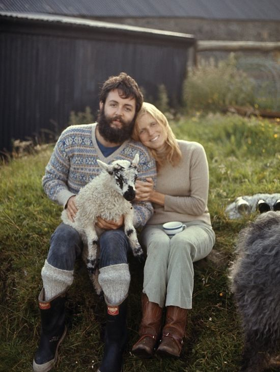 Paul & Linda McCartney in scotland. So sad she died. His life went downhill fast after her death.