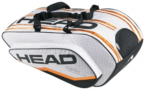 The Head Novak Djokovic Monstercombi Tennis Bag 2013   This bag is a stylish racquet bag that holds up to 12 racquets with additional accessory compartments, detachable wet bag and adjustable padded shoulder straps and carry handle.  $149.95
