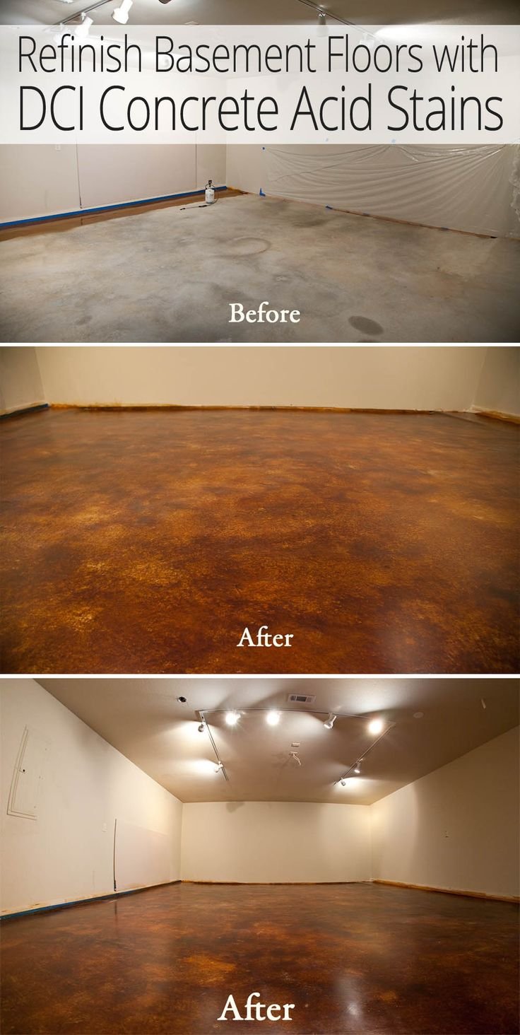 Remodel Basement Floors For Less with DCI Acid Stain and Concrete Sealer. Hassle Free Option to Carpet.
