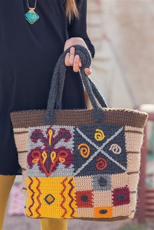 I love the sampler square on this crochet tote, and the front and the back are different! Outback Tote