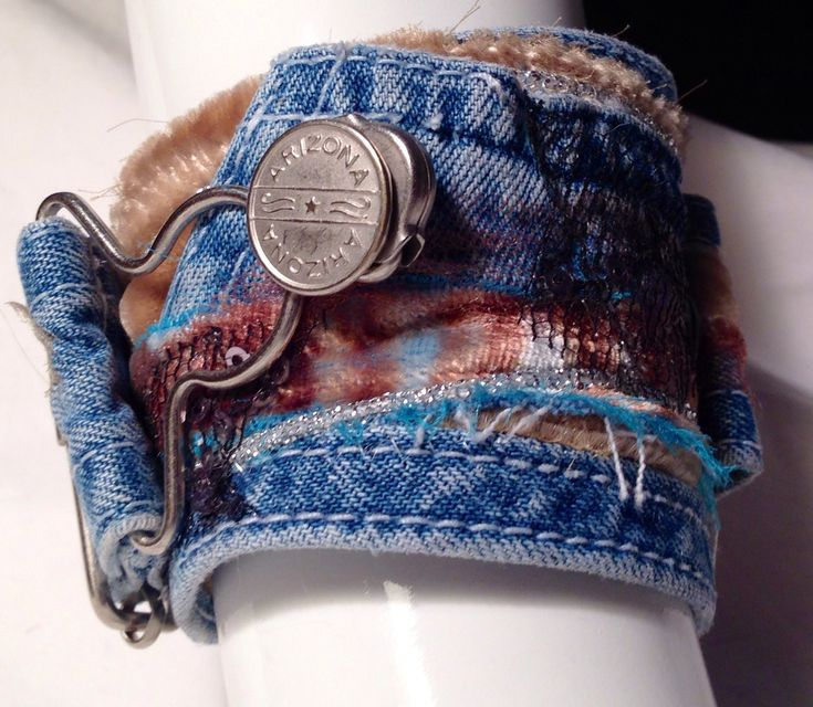 Fabric cuff bracelet at www.dianasartquilts.etsy.com  Made from a strap of a worn overall.