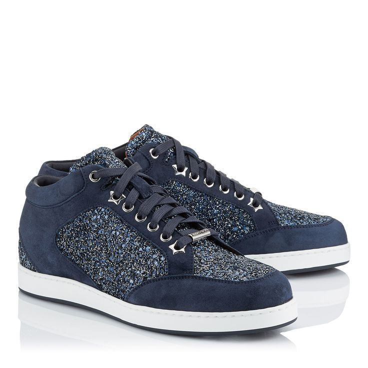 Jimmy Choo, Miami.  Navy Crackly Glitter Fabric Sneakers