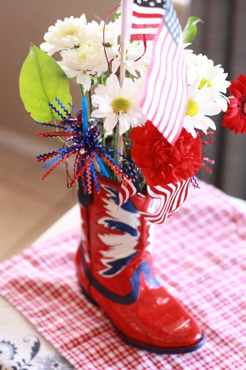 Painted kid's cowboy boot from #Goodwill for my #patriotic #centerpiece. $5.99  #Country #4thofJuly #party: July Centerpieces, Patriots Centerpieces, Paintings Crafts, 4Thofjuli Parties, Red White Blue, Country 4Thofjuli, Boots Purcha, Westerns Parties, Kids Cowboys Boots