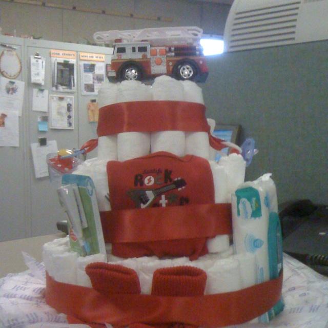 Firefighter Themed Diaper Cake