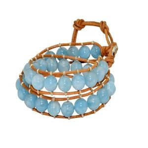 Double row Aquamarine Gemstone Bracelet by Dora By Ebru // Çift sıra Aquamarin taşlı bileklik  by Dora By Ebru