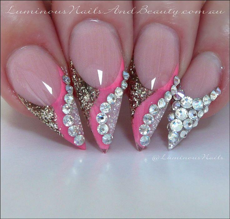 Luminous Nails: Coral Pink, Shimmering Gold & White with Swarovski Crystals... Acrylic Nails