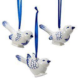 Porcelain Delft Blue Bird Ornaments (set OF 3)