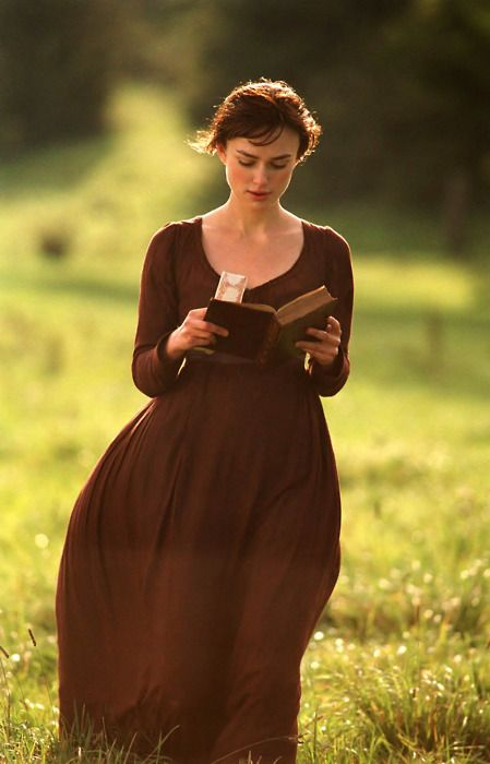 """From Pride and Prejudice - At the beginning of the movie, Elizabeth is shown reading a novel titled """"First Impressions"""", this was Jane Austen's original title of her novel before she altered it to """"Pride and Prejudice""""."""