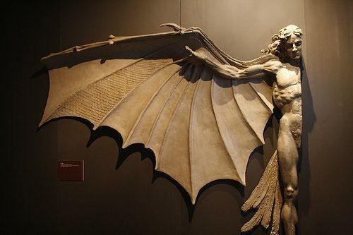 Statue based on Leonardo DaVinci's famous concept for artificial wings - artist unknown
