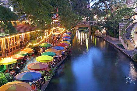 San Antonio Riverwalk.  Been there a dozen times and have still never scratched the surface! There's so many places to eat and so many people to watch.  We've done the boat ride lots of times and tried to bookmark places in our mind -- many aren't kid appropriate and as a mom, I'm always worried one of three kids under 8 was going to fall in.  Sad thing is, being so distracted site seeing, I'm probably the most likely to take a fall.  LOL!