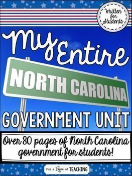 This bundle includes all 9 of my North Carolina Government products and lessons found individually in my store. TpT: Kim Miller