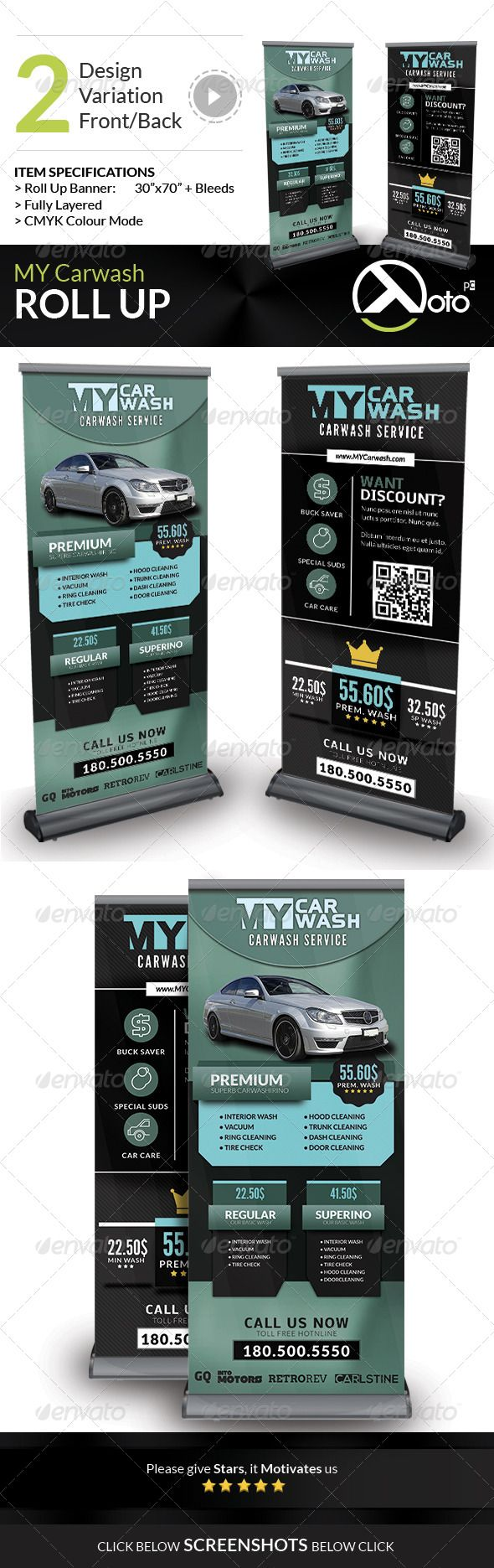 My automobile carwash service roll up banner