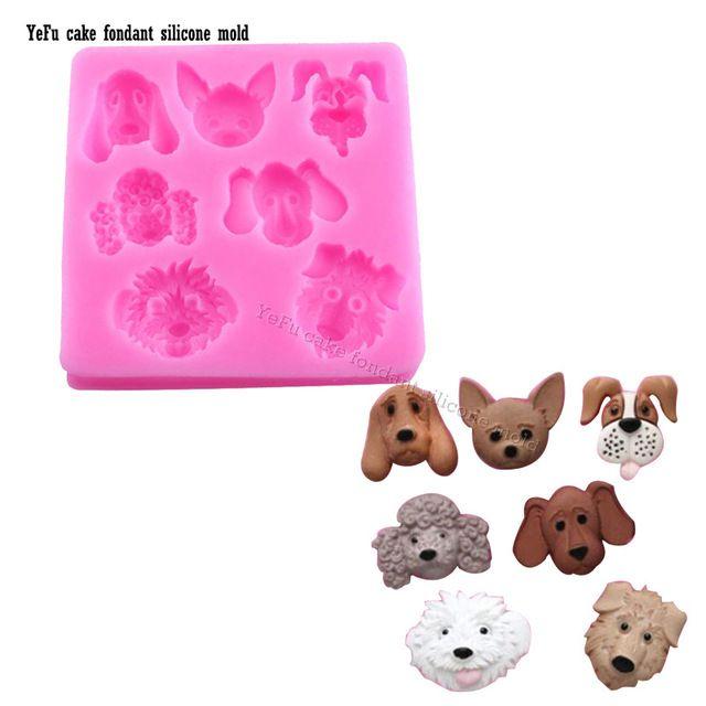 3D perro perro perro Fondant Cake Decorating Herramientas de la Hornada Del Molde de la Historieta Animales del Bosque Figura de Arcilla/molde de caucho de silicona T-0869