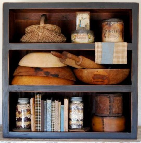 Open shelf, can be used in any room: Kitchens Shelves, Open Shelves, Wooden Bowls, Primitive Shelves, Open Faces, Rolls Pin, Primitive Kitchens, Primitive Country, Furniture Decor