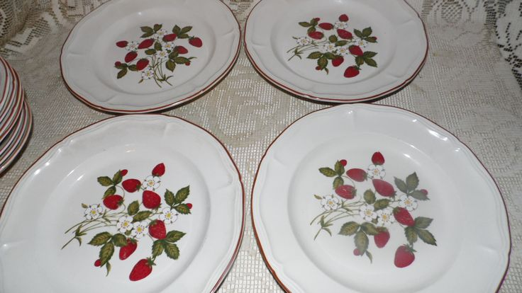 "Vintage Newcor Stoneware Dinner Plates ""Emily"" Strawberry Design Set Of 4 by FabulousFinds1 on Etsy"