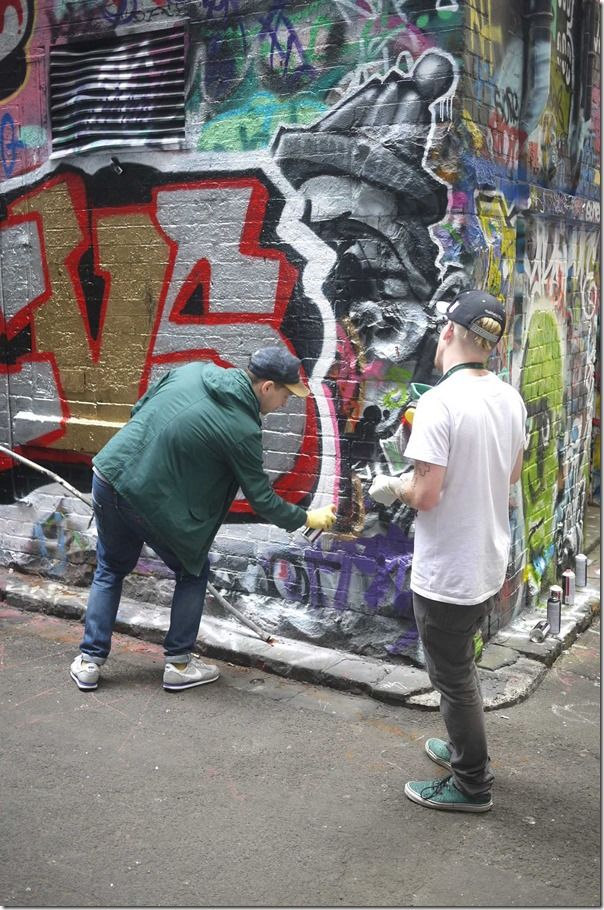 Street artists at work, Hosier Lane, Melbourne