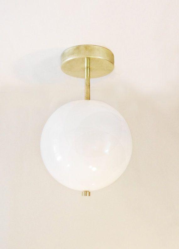 Minimal Brass Wall or Ceiling Globe - School House Globe Shade - Hard Wired Version