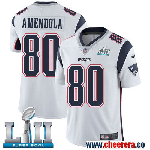 low priced 0c396 b7d62 Nike Patriots 80 Danny Amendola White 2018 Super Bowl LII ...