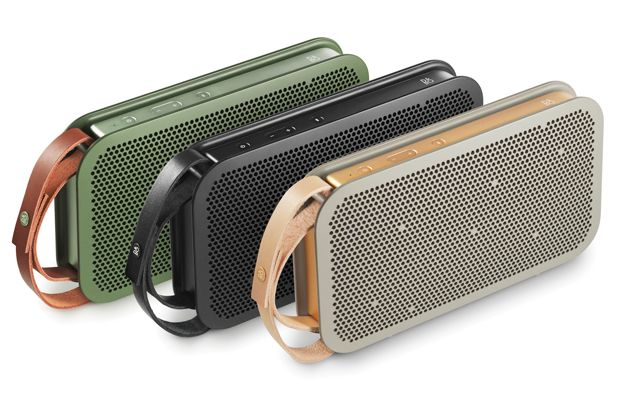Leather, aluminum, and polycarbonate-ABS polymer come together to offer an omnidirectional Bluetooth audio speaker with 24 hour battery life and 180 watts.
