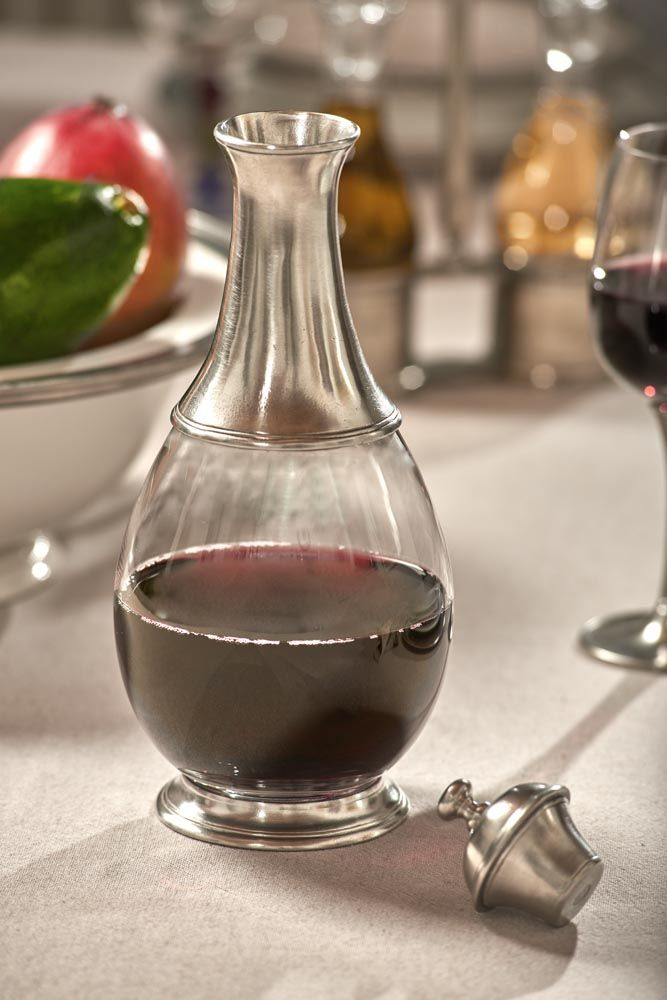 Pewter & Glass Bottle with Top - Height: 29 cm (11,4″) - Food Safe Product - #bottle #pewter #glass #bottiglia #peltro #vetro #flasche #zinn #glas #étain #etain #verre #bouteille #peltre #tinn #олово #оловянный #tableware #dinnerware #drinkware #table #accessories #decor #design #bottega #peltro #GT #italian #handmade #made #italy #artisans #craftsmanship #craftsman #primitive #vintage #antique