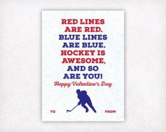 Hockey Valentines Day Cards, Boys Valentine Cards, Printable Hockey Valentine, Kids Valentine's Day Cards, School Classroom Sports Valentine