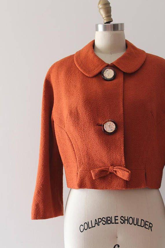 vintage 1950s jacket // 50s 60s burnt orange cropped jacket