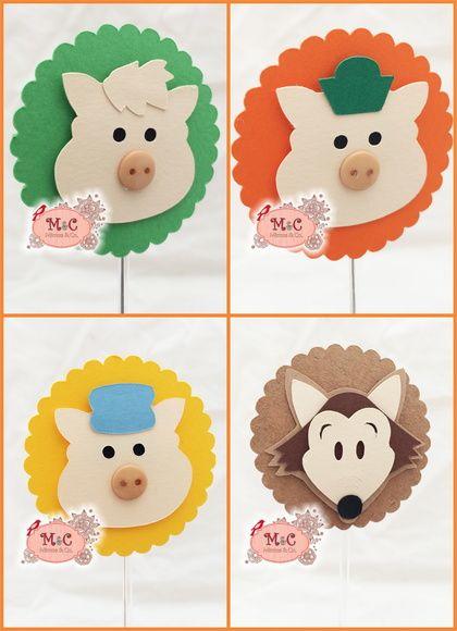 Topper 3D para docinhos-Três Porquinhos