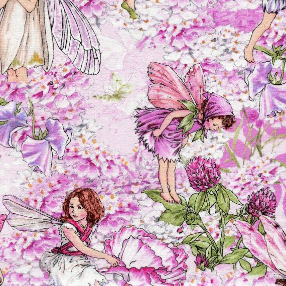 Pink Petal Flowers Fairies   Michael Miller  Fat by BywaterFabric