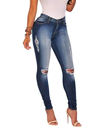 c516d7e7ea ADELINA Pantalones Vaqueros Ajustados De Las Mujeres Pantalones Mezclilla  Ropa De Cintura Pantalones De Lápiz Pantalones
