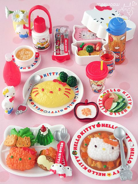 Hello Kitty Re-ment miniatures: Kitty Miniatures, Re Ment Hello, Kitty Meals, Hello Kitty Food, Menu, Graphics Design Posters, House, Kitty おうちごはん, All Things Hellokitti