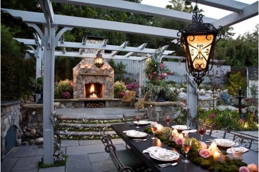 Victorian living room with outdoor fireplace-Home and Garden Design Ideas