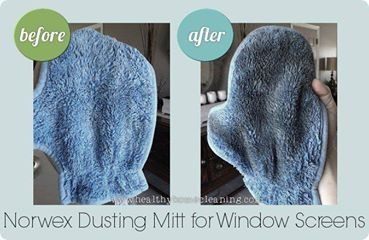 Norwex Dust Mitt -  before after cleaning window screens