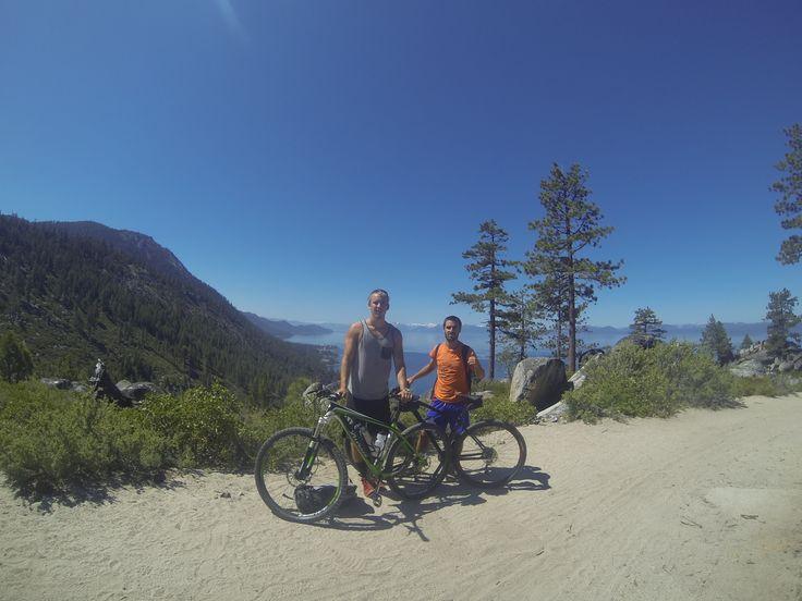 Mountain biking the Rim Trail at Lake Tahoe, CA