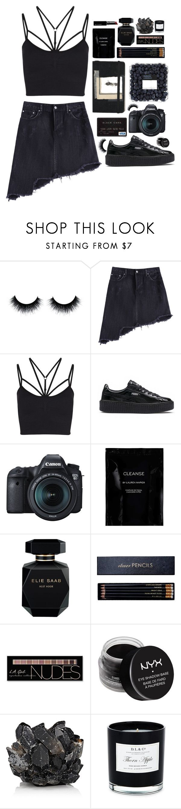 """Asymmetrical"" by sunshinelarry ❤ liked on Polyvore featuring Sweaty Betty, Puma, Moleskine, Eos, Cleanse by Lauren Napier, Elie Saab, Sloane Stationery, Charlotte Russe, NYX and McCoy Design"