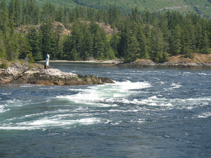 Skookumchuck Narrows on Sechelt Inlet    Tidal rapids can exceed two metres and the current speed can exceed 30 km/hr.  Beautiful long walk in from road but boat trips and paddling trips also available.
