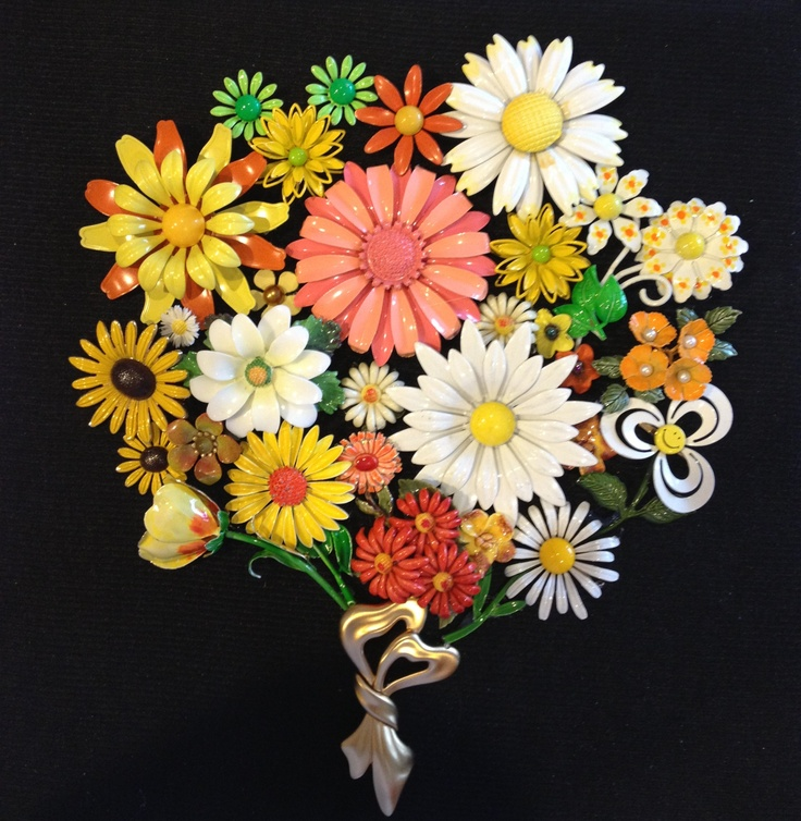 Colorful vintage flower pins made into a cute bouquet picture