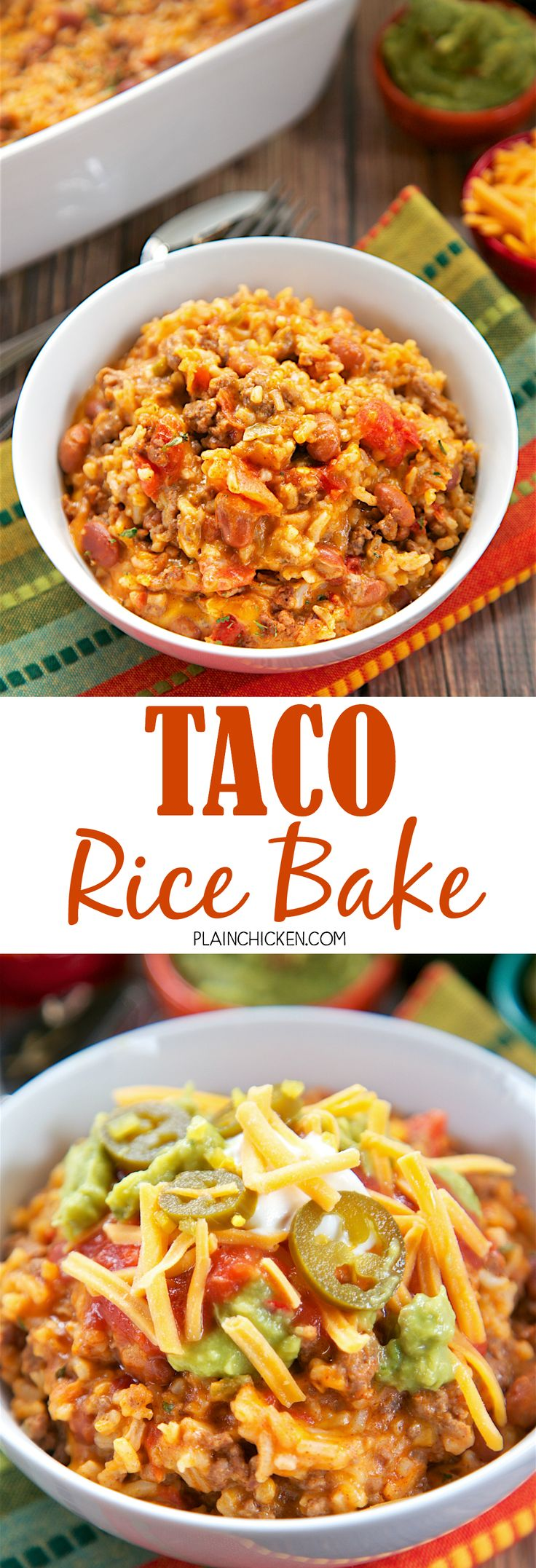 Taco Rice Bake - loaded with taco meat, beans, Rotel, cheese, and rice. It's a full meal in one dish! We like to top the casserole with our favorite taco toppings - cheese, sour cream, jalapeños and guacamole! This a great change to our usual taco night!! (Ranch Chicken Marinade)