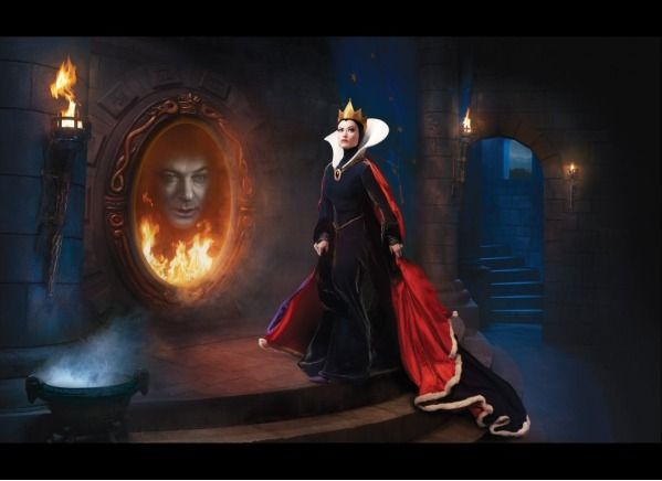The Evil Queen and Her Magic Mirror - Alec Baldwin is the face in the magic for the evil queen, Olivia Wilde. Not used to seeing her as an evil character!