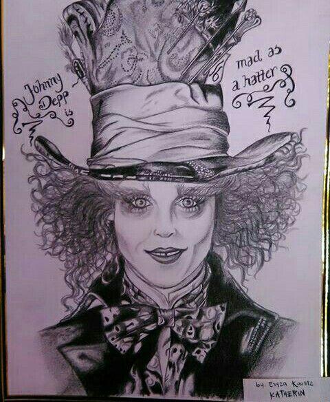 El sombrerero loco  Dibujo a lapiz