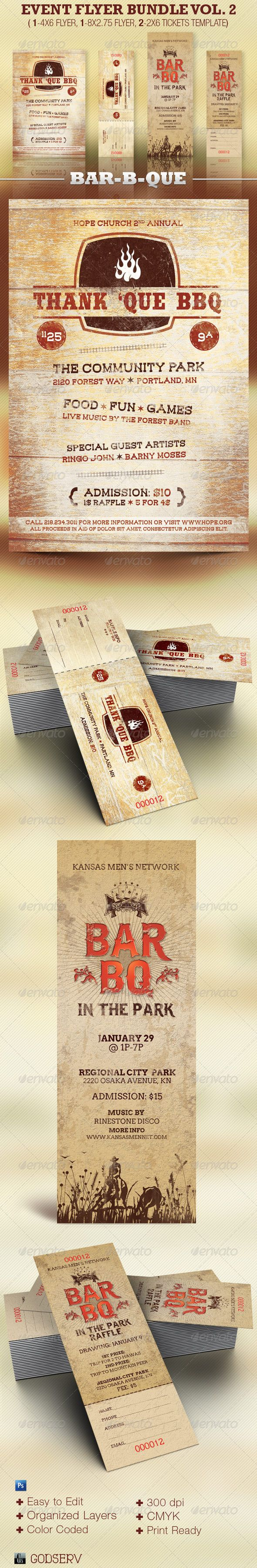 Barbecue flyer plus ticket template bundle vol 2 the for Bbq tickets template