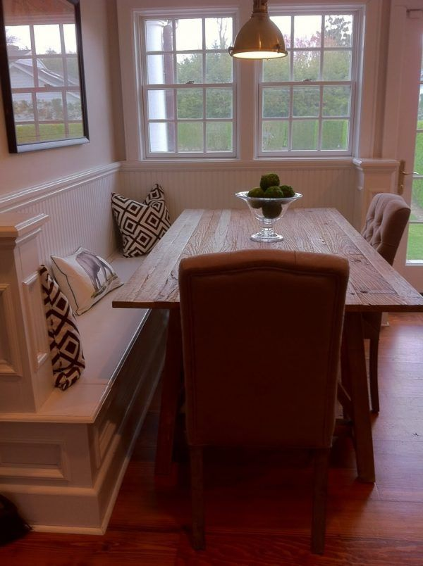 Kitchen Table With Built In Bench Santa Barbara Dining Trestle Reclaimed Lumber