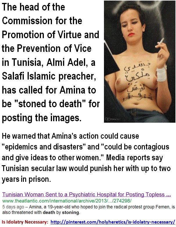 Tunisian Woman Sent to a Psychiatric Hospital for Posting Topless - -- Amina.    http://www.theatlantic.com/international/archive/2013/03/tunisian-woman-sent-to-a-psychiatric-hospital-for-posting-topless-photos-on-facebook/274298/